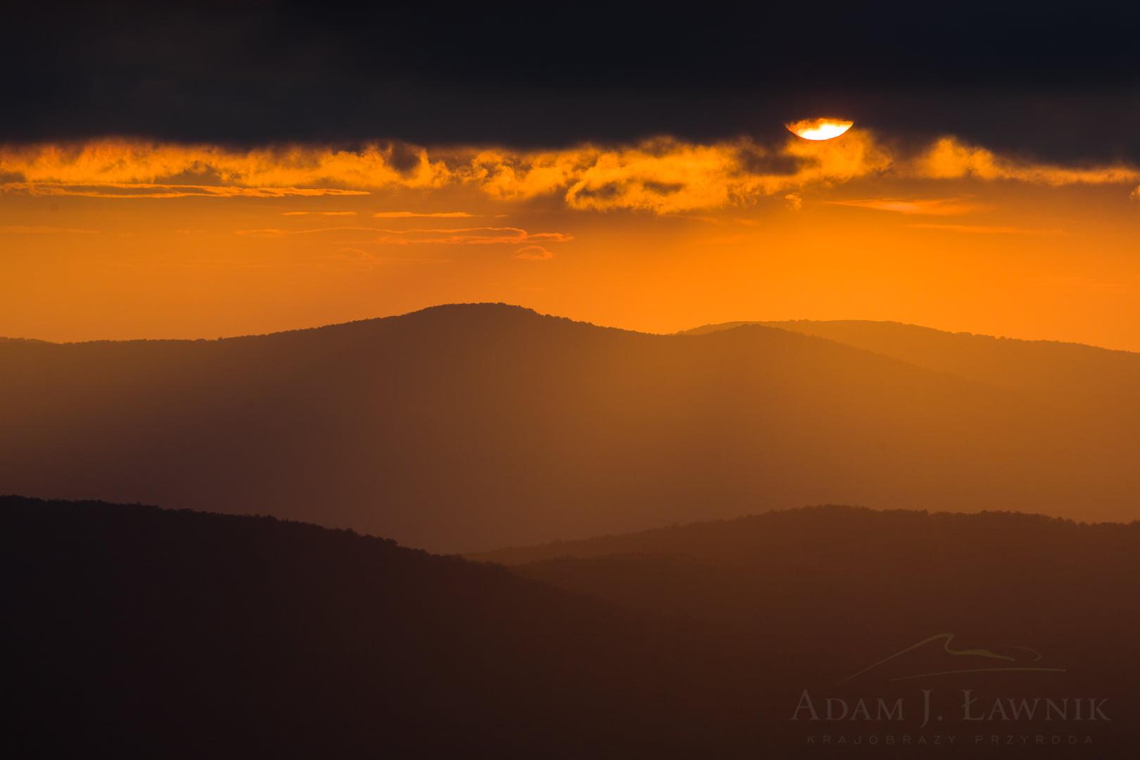 Zachód słońca na Połoninie Caryńskiej