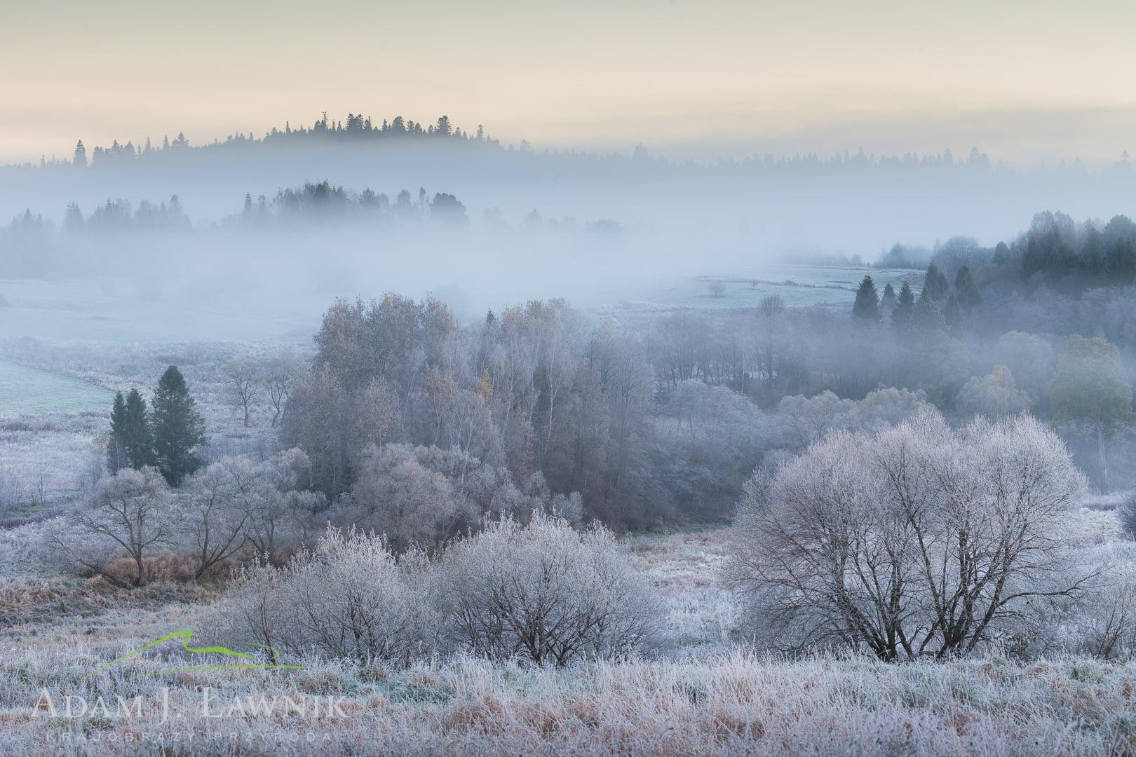 Zima w w Dolinie Górnego Sanu w Bieszczadach